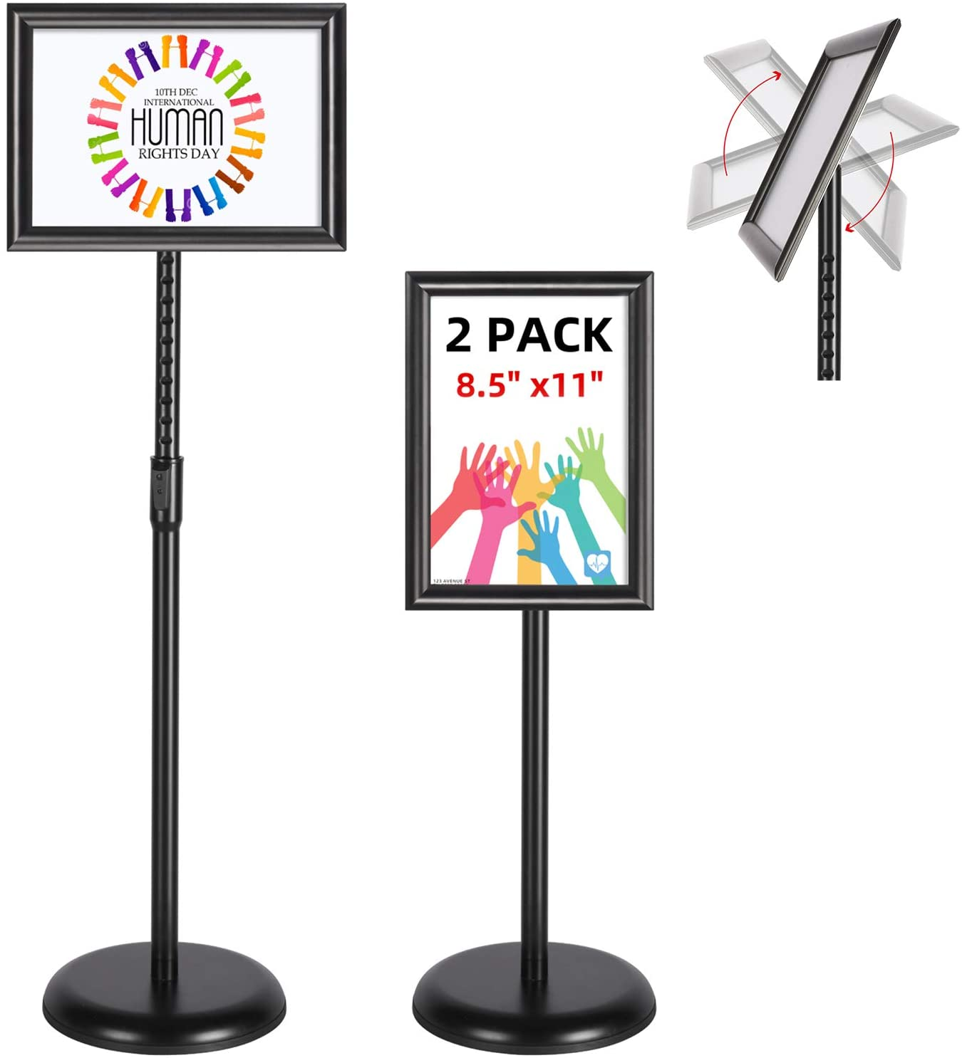 T-SIGN Adjustable Pedestal Poster Stand Aluminum Snap Open Frame for 8.5 x 11 Inch, Vertical and Horizontal View Sign Displayed, Black 2 Pack, Round Base