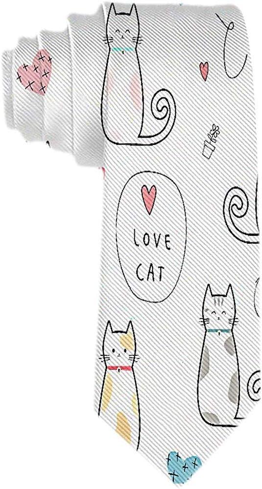 Hombres S Corbata Lindo Gatito Gato Dibujos Animados Amor Corazón ...