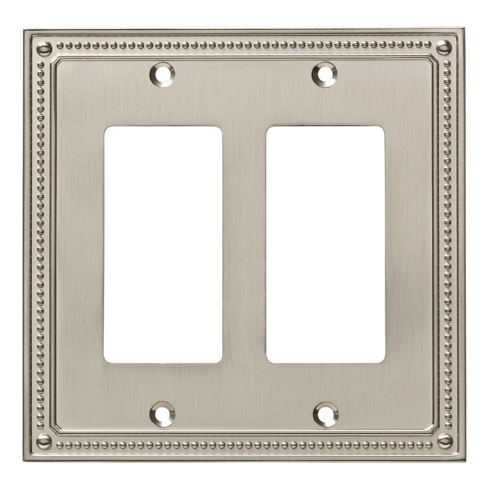 Franklin Brass W35065-SN-C Classic Beaded Double Decorator Wall Plate/Switch Plate/Cover, Satin Nickel