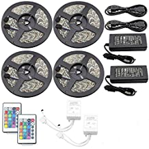 IWISHLIGHT 65.6Ft 20M [4 Roll] SMD 5050 1200LEDs Water-resistant Flexible RGB LED Strip Lighting + 24Key Remote + 2 x Power Supply Adapter