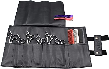 Funda para tijeras de peluquería, 7 bolsillos, de piel, para peluquería, tijeras, tijeras, tijeras de peluquería: Amazon.es: Belleza