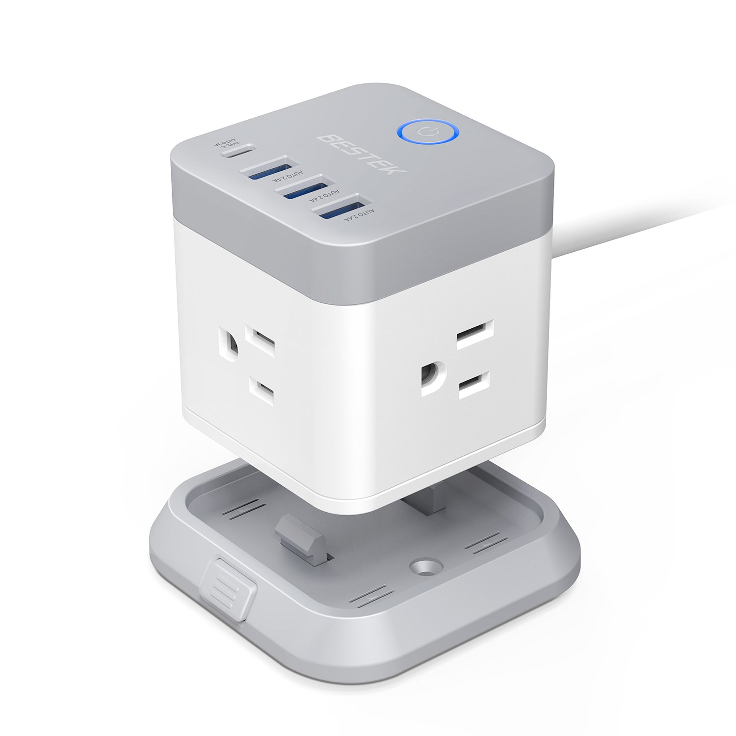 BESTEK Power Strip with USB,Vertical Cube Mountable Power Outlet Extender with 3 Outlets,3 USB &1 Type-C Ports,5-Foot Extension Cord and Detachable Base for Easy Mounting,1875W