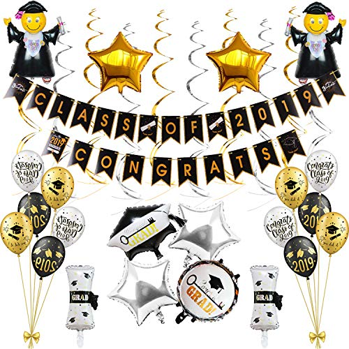 Congrats Class of 2019 Graduation Banner Graduation Party Decorations with PhD balloons for Class of 2019 (52 PCS) VAG073]()