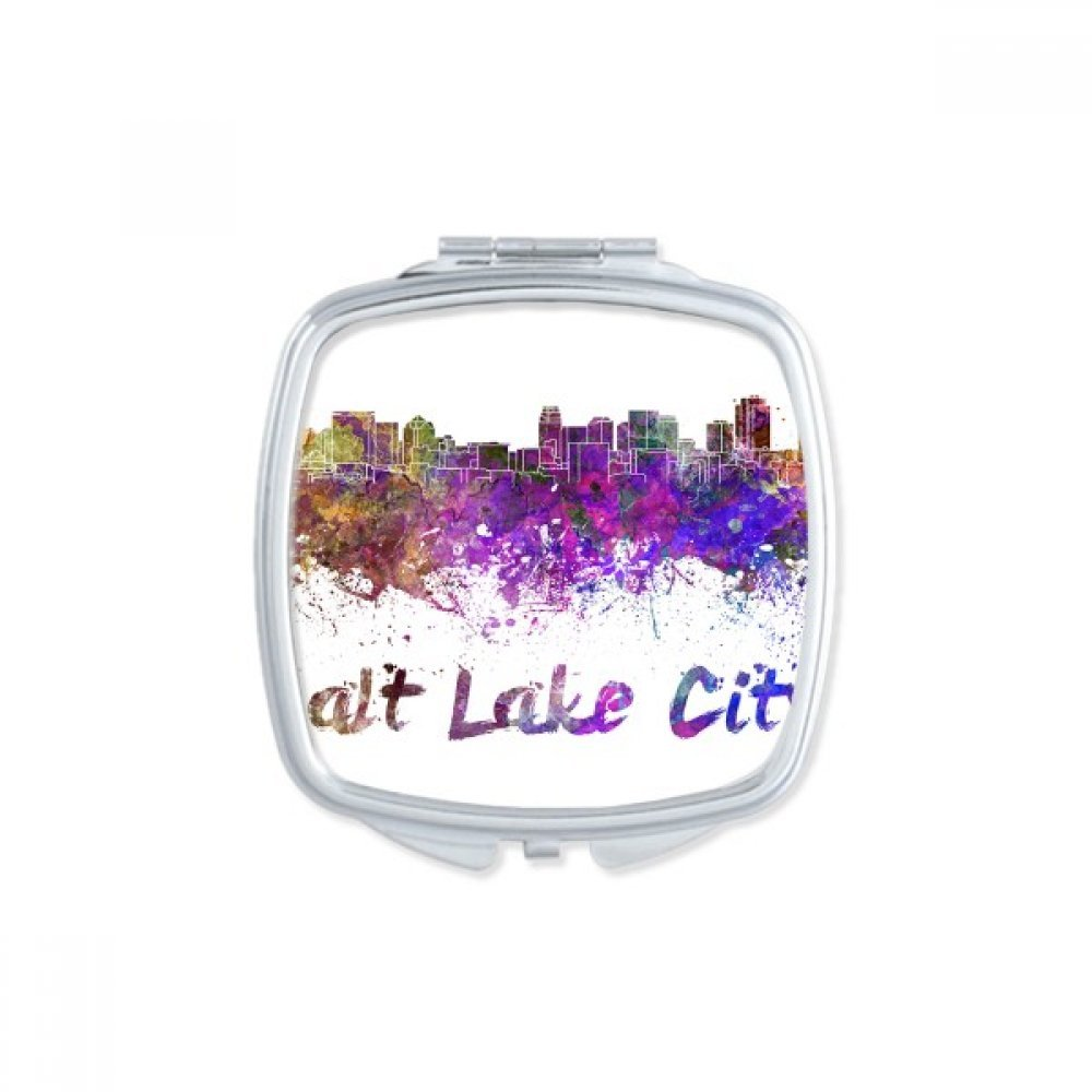 Salt Lake City America Country City Watercolor Illustration Square Compact Makeup Pocket Mirror Portable Cute Small Hand Mirrors Gift