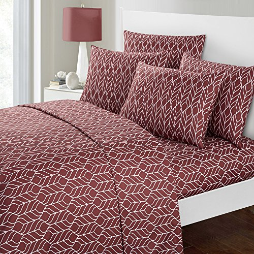 Soft Leaves - Chic Home Red Maple 6 Piece Sheet Set Super Soft Two-Tone Geometric Leaf Pattern Print Deep Pocket Design – Includes Flat & Fitted Sheets and Bonus Pillowcases, King Brick Red