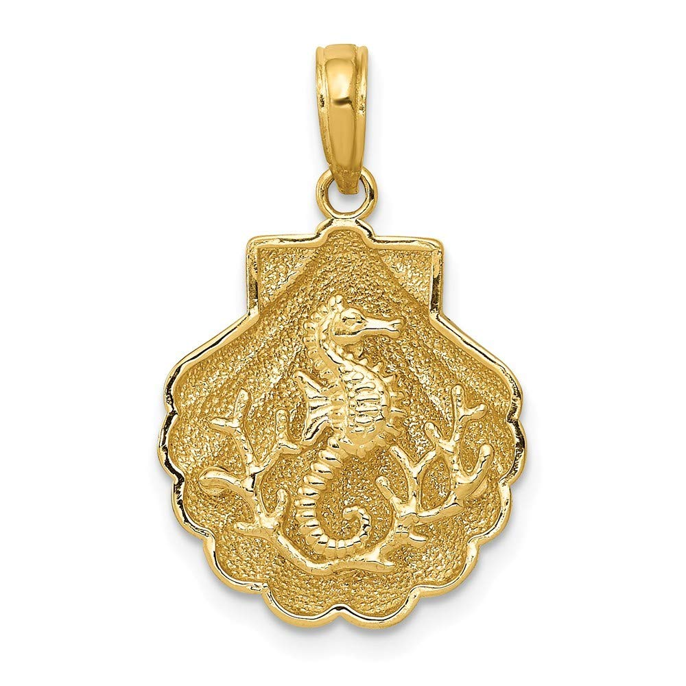 14K Yellow Gold Seahorse in a Shell Pendant ~ from Roy Rose Jewelry