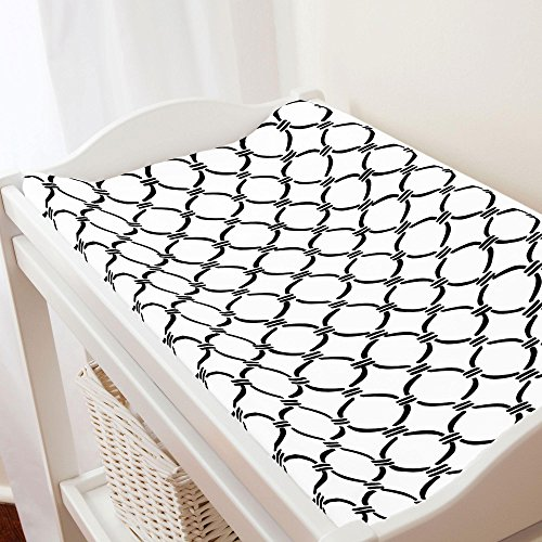 Carousel Designs Onyx Lattice Circles Changing Pad Cover - Organic 100% Cotton Change Pad Cover - Made in the USA (Lattice Onyx)
