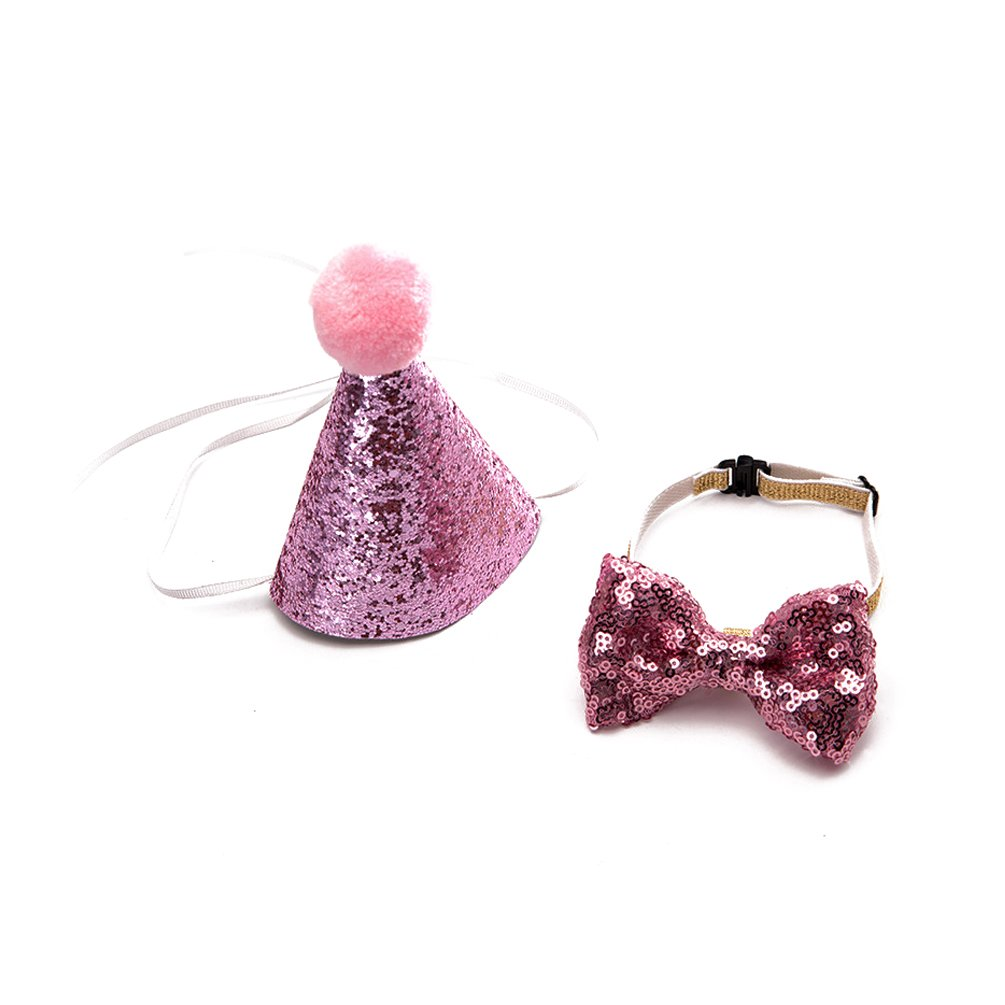 CHENPU Pet Birthday Hat With Tie Small Dog Puppy Party Costume Photo