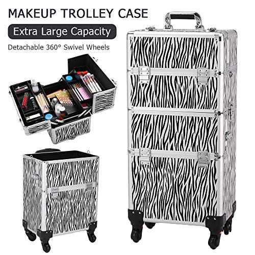Kepooman Aluminum Lockable Makeup Case 3 in 1 Professional Cosmetic Organizer Trolley Makeup Train Case Tattoo Box with Extendable Trays,Shoulder Strap,4 Removable Universal Wheels,White Zebra -