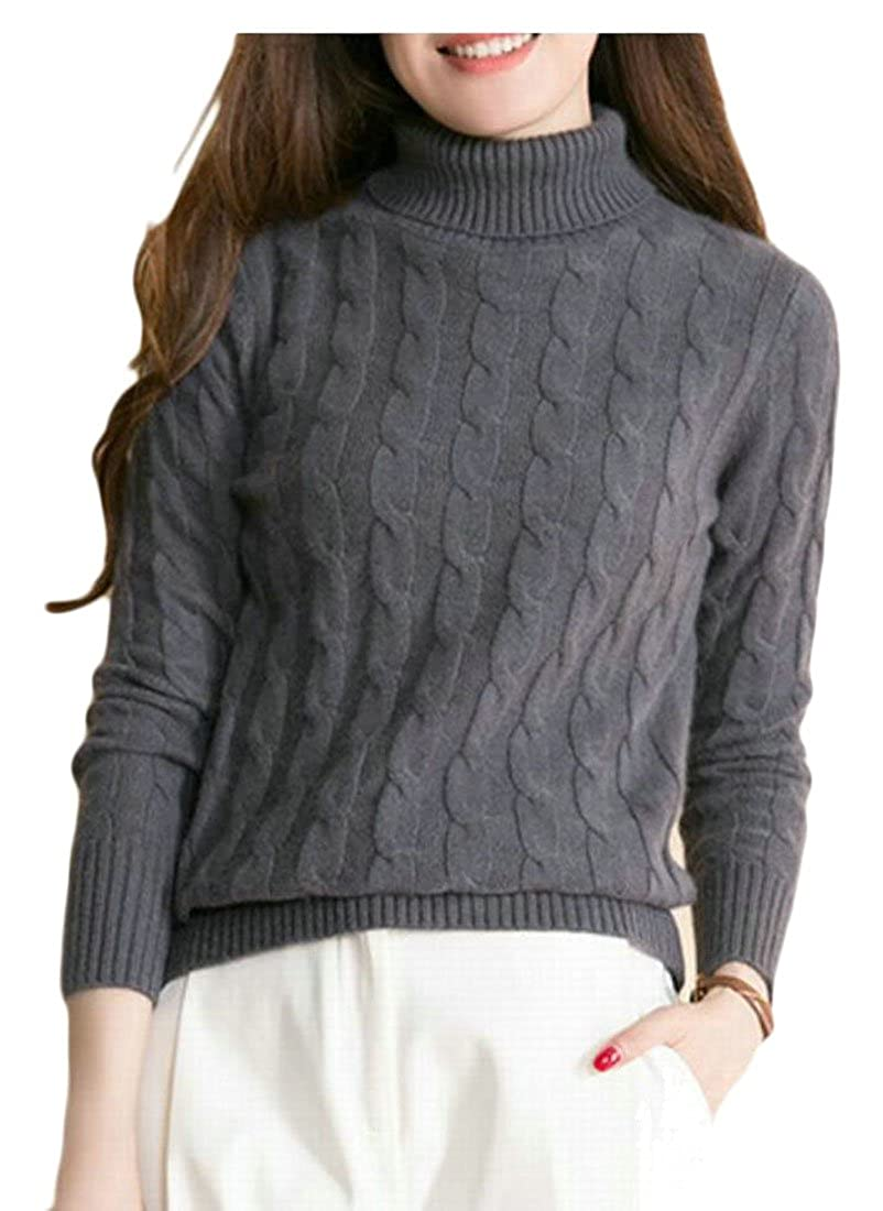 3 GAGA Women's Turtleneck Long Sleeve Solid color Knit Sweter Jumper with Cable Pattern