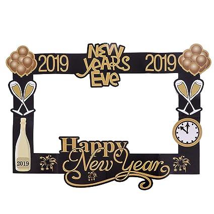 BESTOYARD 2019 Feliz año Accesorios para Marcos de Fotos DIY Selfie Photo Booth Marco de Fotos