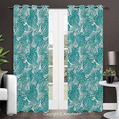 Printed Grommet Energy Efficiency Window Drapery Curtains,Window Curtain Panels,42x84 Inch Light Blue Neo Camouflage Tropical Summer Pattern Palm Tree Leaves Hawaiian - Bronze Classic Two Neo Light