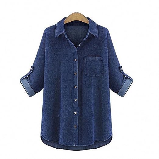 4748b9620d3 Denim Shirt Female Plus Size Long Sleeve Women s Jeans Shirt Slim Ladies  Tops Blusas dark blue