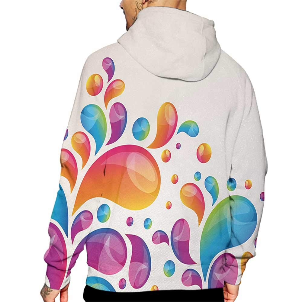 Hoodies Sweatshirt/ Autumn Winter Colorful,Cute Raindrops in Different Size in Gradient Colors Abstract Splash Style Design,Multicolor Sweatshirt Blanket