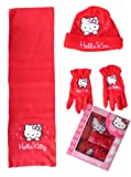 Girls Hello Kitty Hat Scarf and Gloves Set