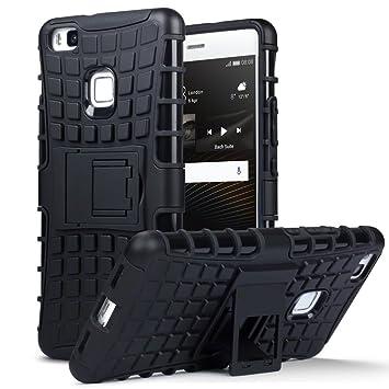 Huawei P9 Lite Carcasa Híbrida de Doble Resistencia, y soporte para mesa - Negro oscuro