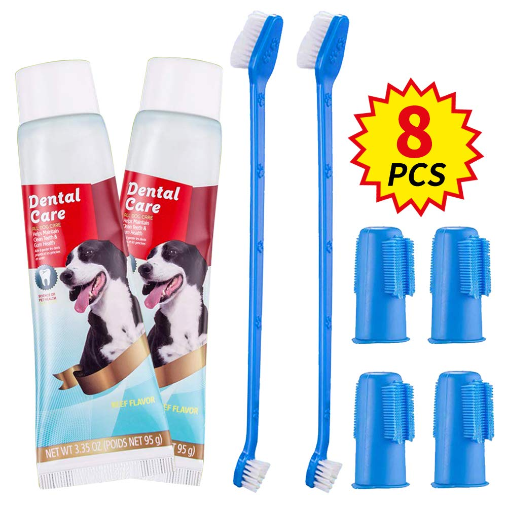 COOYOO Dog Dental Care Kit, 2 Pack Dog Toothbrush and Toothpaste Set for Pet Teeth Cleaning,Soft Finger Toothbrushes Pet Toothbrush Fits Small to Large Dogs by COOYOO