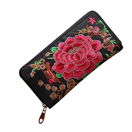mujeres Mode Single Pull bordado étnicas estilo Wallet Card ...