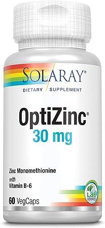 Solaray OptiZinc 30mg | Supports Immune & Endocrine Systems & Cellular Health w/Methionine & B-6 | 60 VegCaps