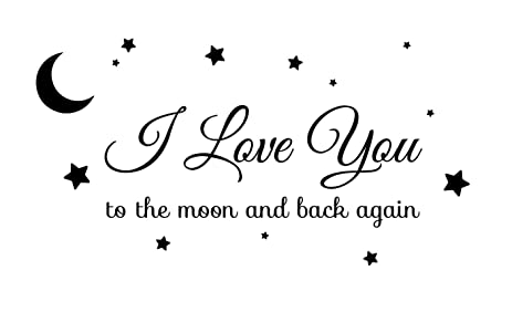 I love you to the moon and back again star illustrated wall art sayings vinyl sticker