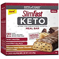 SlimFast Keto Meal Replacement Bar, Whipped Peanut Butter Chocolate, 5 Count, Pack of 1