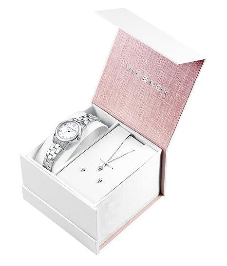 aaa45a4027b3 Viceroy Reloj Analógico para Niñas de Cuarzo con Correa en Acero Inoxidable  401028-05  Amazon.es  Relojes