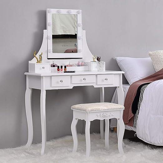 Songtree - Mesa Tocador Blanco con Espejo Aumento Rectangular Gran ...
