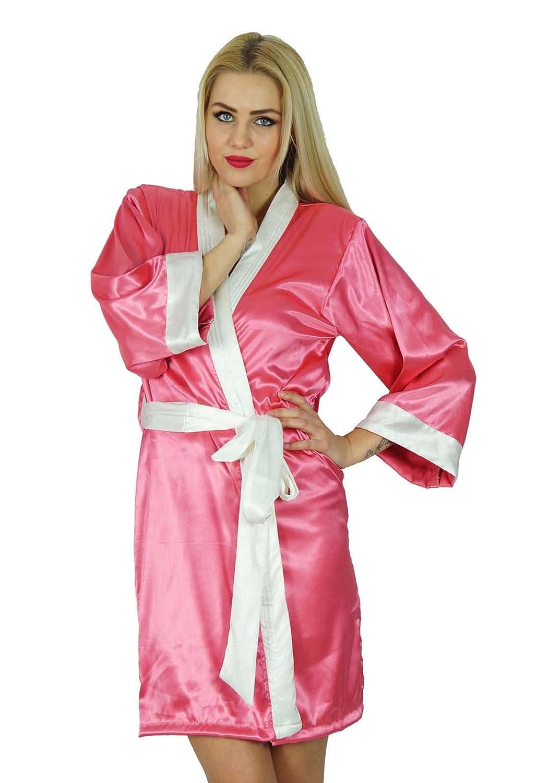 Bimba Women Short Classic Satin Robe Bridesmaid Robes Kimono Sleeve Coverup