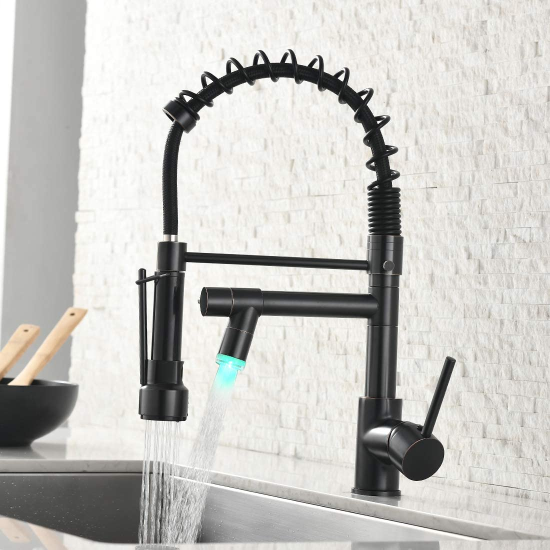 """LED Commercial Single Handle Kitchen Sink Faucet Pull Out Sprayer With 10/"""" Cover"""