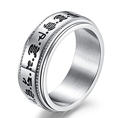 HIJONES Mens Stainless Steel Buddhist Gold Mantra Pattern Spinner Lucky Ring sgLgM8EzA