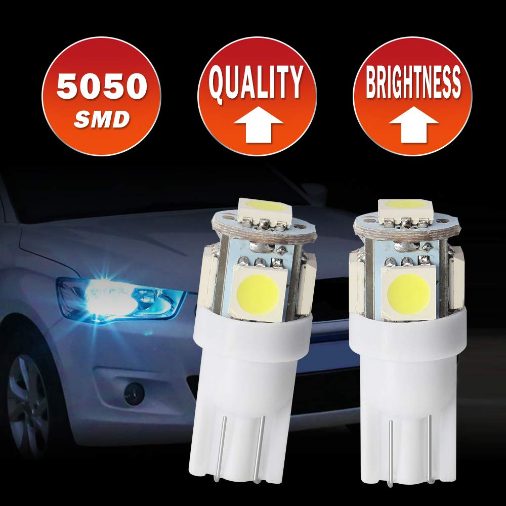 XINFOK T10 LED White W5W 5 SMD 5050 Super Bright 194 168 2825 Wedge LED Car Lights Source Replacement Bulbs Interior Lamps T10-5SMD-5050 White Pack of 10 T10 5050X10