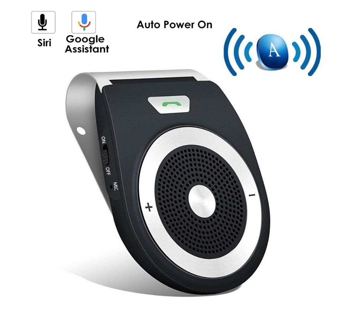 AMAKE Wireless Bluetooth Car Adapter Speaker Receiver Sun Visor Car Charger Speakerphone Car Stereo Hands-Free Bluetooth Speakerphone Player Car Kit with Mic for iPhone 7/Plus Samsung Support Siri