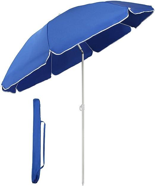 Sekey® Sombrilla Ø 160 cm Parasol para terraza jardín Playa balcón Piscina Patio, Color Azul, Protector Solar UV20+: Amazon.es: Jardín