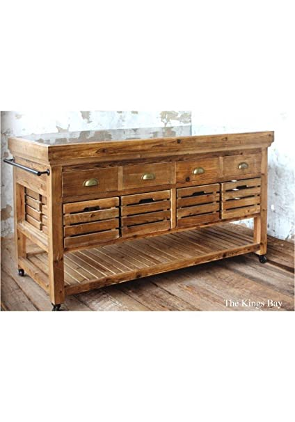 Amazon.com - The King\'s Bay Rolling Kitchen Island with ...