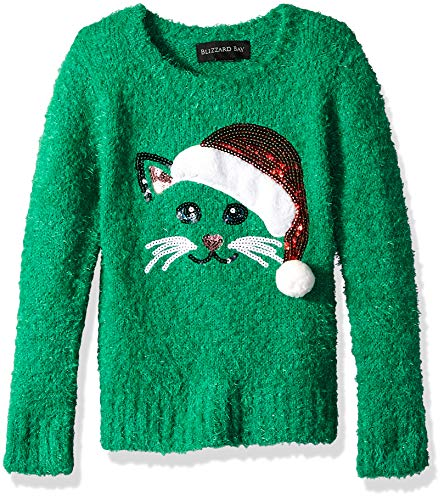 - Blizzard Bay Girls' Big L/S Crew Neck Cat in Santa Hat Christmas Sweater, Jelly Bean Combo, M-10/12