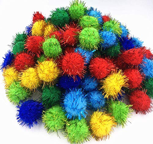 TECH-PCreative Life Glitter Poms Poms Sparkle Balls Pet Cat Toy Balls-Assorted Color, 1.5 Inch with Tinsel,100 Pack ()