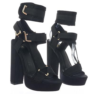 3bf8efe0b84 Amazon.com  Liliana Women s Strappy Elastane Harness Chunky Platform ...