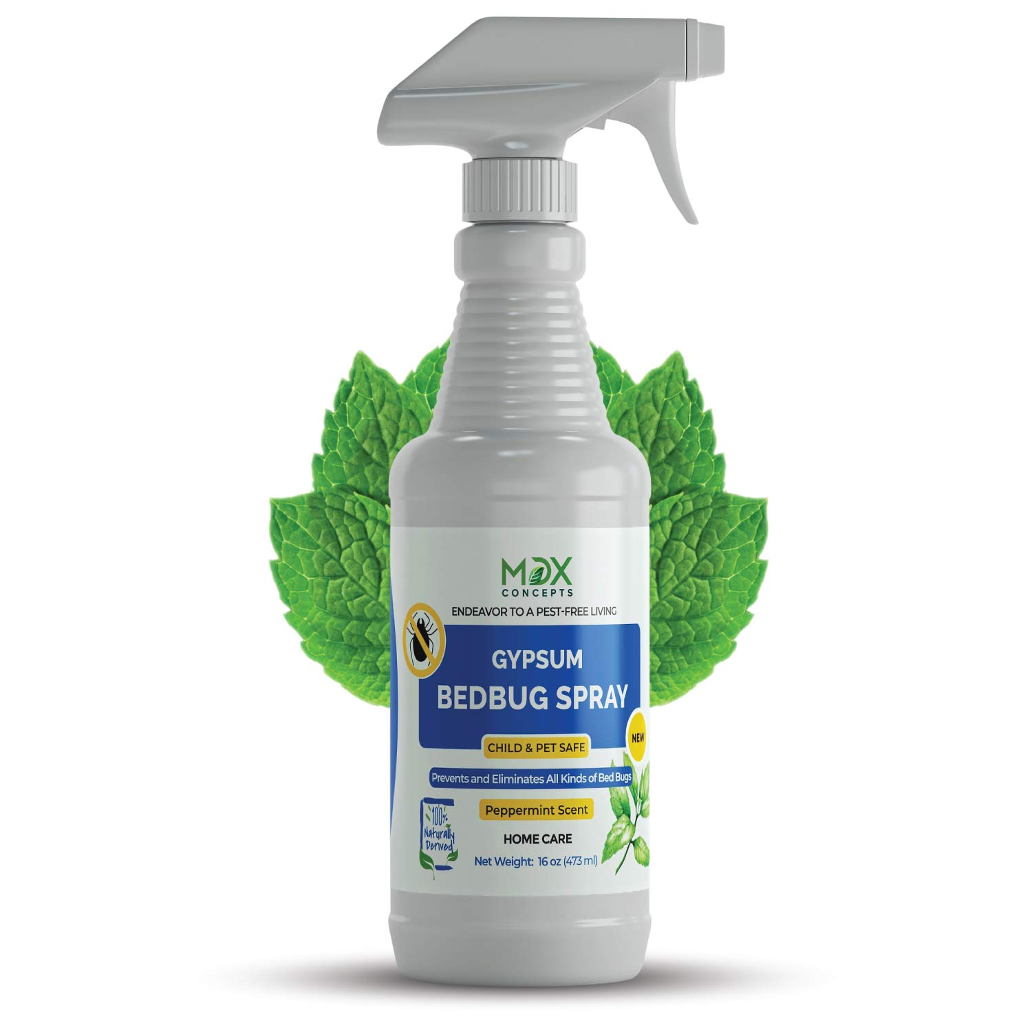mdxconcepts Bed Bug Killer, Peppermint Oil - Repellent Spray - Natural Organic Formula Fastest - Made in USA - All Natural - Pet Safe - Indoor/Outdoor Spray - 16oz