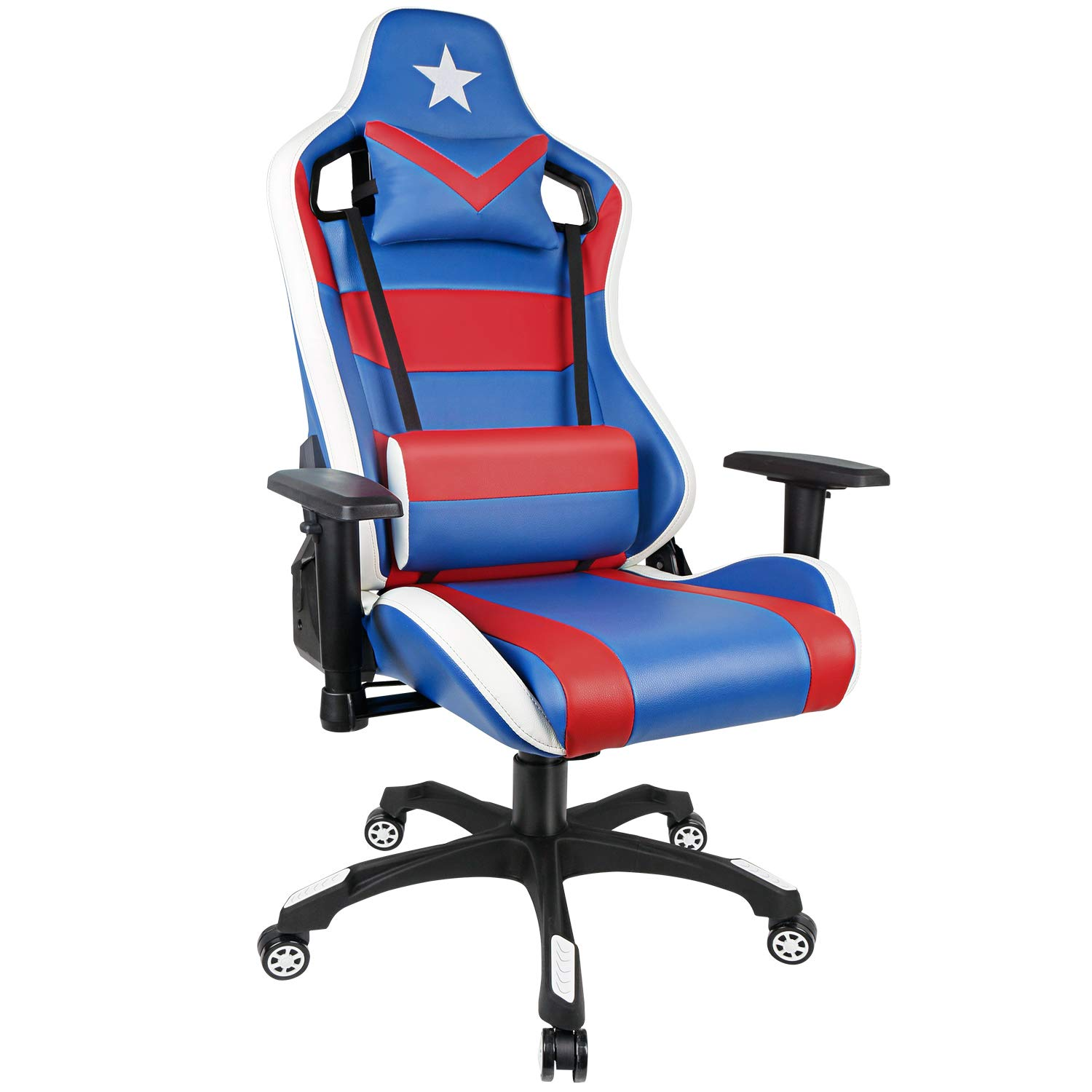 PC Gaming Chair High Back Racing Chair with Adjustable Armrest Blue Red USA Game Chair with Lumbar Support for Men and Women