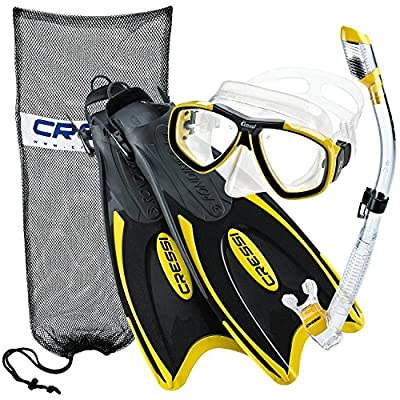 Cressi Palau Long Fins, Focus Mask, Dry Snorkel, Snorkeling Gear Package ...