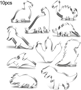 10pcs Cookie Cutters Set, Biscuit Bread Fondant Cutters, Dinosaur Shaped For Kitchen Baking Halloween Christmas Festivals