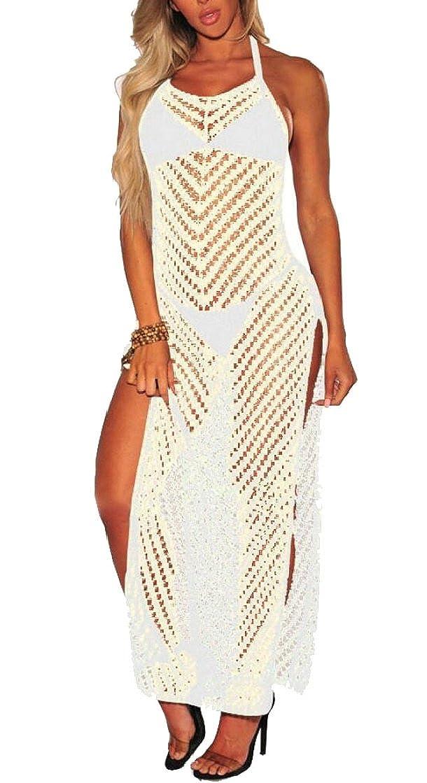 f1f085ace3eea Yayu Women s Fashion Fishnet Backless Bathing Suit Cover up Bikini Swimsuit  Tunics Chiffon Dress