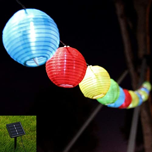 zmkm waterproof solar string lights outdoor 1968ft 6m 30 led 8 modes rgb lantern solar - Patio Lanterns
