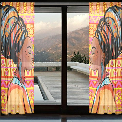 INGBAGS African Women Sheer Curtain Panels Bedroom Decor Living Room Decorations Tulle Polyester Door Window Gauze Curtain Drape 2 Panels Set 55×118 inch