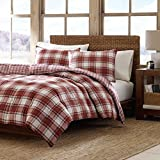 2 Piece Beige Ivory Rusty Red Plaid Comforter Twin Set, Warm Lightweight Cabin Themed Bedding Checked Lumberjack Pattern Lodge Southwest Tartan Madras Cottage Rustic, Microfiber Polyester
