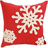 Canvas Cotton Embroidery Throw Covers Christmas Snow Square Throw Pillow Covers Red