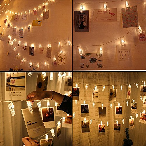 Photo Clips String Lights, 20FT 40 LED Battery-Powered LED Photo Clip String Lights, Pictures Display String Fairy Lights Perfect for Hanging Pictures, Notes, Artwork (Warm (Hanging Display)