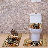 HUGSIDEA Soft Absorbent Bath Rug Set Bathroom Mat Contour Rug Toilet Lid Cover (Polar Bear)