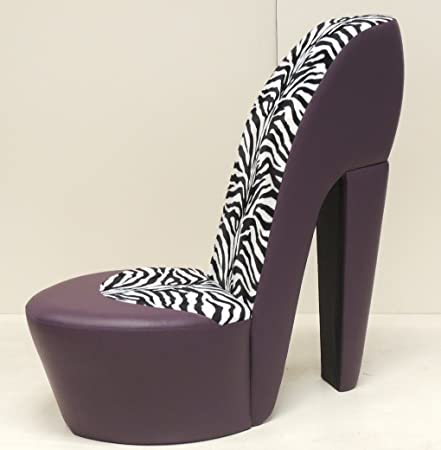 PURPLE STILETTO / SHOE / HIGH HEEL CHAIR ZEBRA FAUX FUR