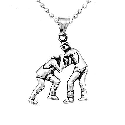 Sharplace Collar Colgante de Acero Inoxidable Color Plata Patrón Boxeo / Fitness / Mancuerna - Patrón